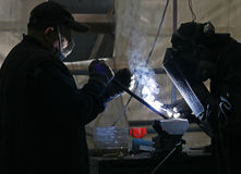 Factory welders Royalty Free Stock Images