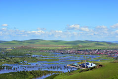 Factory in Wetland. The factory is situated on the edge of the Genhe Wetland whick is the Asia first and nearby Hailaer City in the eastnorth of China stock photos