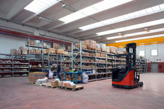 Factory wharehouse with forklift Stock Photo