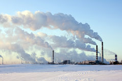 Factory in the winter. Factory on manufacture of chemical production Royalty Free Stock Image