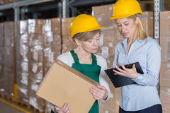 Factory worker and boss Stock Photography