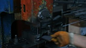 Factory Worker Drilling Metal Parts with a Machine.  stock video footage