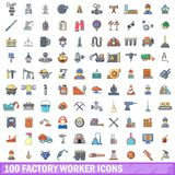 100 factory worker icons set, cartoon style. 100 factory worker icons set. Cartoon illustration of 100 factory worker vector icons isolated on white background Stock Photos