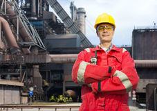 Factory worker in overalls Royalty Free Stock Photo