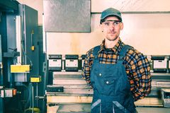 Factory Worker Portrait. Smiling and Satisfied Caucasian Worker royalty free stock photos