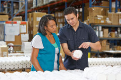 Factory Worker Training Colleague On Production Line Royalty Free Stock Photo