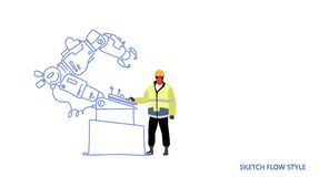 Factory worker in uniform engineer of conveyor controlling robot hand working process manufacturing industry robotic stock illustration