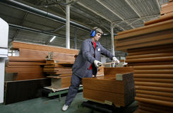 Factory worker in wood warehouse royalty free stock photo