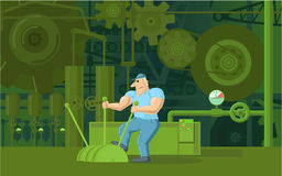 Factory Worker is Working on the Factory Machines. Cartoon Workers Working on the Factory Machines Royalty Free Stock Image