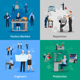 Factory Workers 2x2 Compositions. Colorful 2x2 compositions with professionals at work presenting factory workers repairmen engineers and production flat vector Stock Images