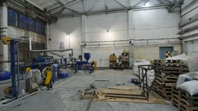Factory workshop interior and machines stock footage