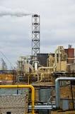 Factory yard. With smoking chimney Stock Photo