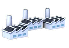 Factorys with solar panels. Three factorys with solar panels 3d illustration royalty free illustration