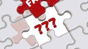 Facts as answers to questions. Folded white puzzles elements and one red with word FACTS falls into its place with the red question marks. Footage video stock illustration