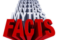 The Facts Come Forward. A shiny bold, red FACTS dominates the foreground with many layers of MYTHS in light blue gray stacked on top. Isolated on White Stock Photos