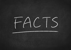 Facts. Concept word on blackboard background stock images