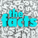 The Facts 3D Words Background Information Real Data Stock Photo