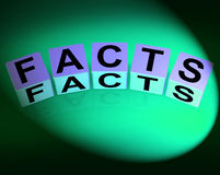 Facts Dice Refer to Information of Reality and Truth Royalty Free Stock Images