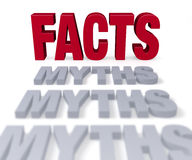 Facts End Myths. Row of plain gray MYTHS end before a shiny red FACTS. Focus is on FACTS.  Isolated on white Royalty Free Stock Photo