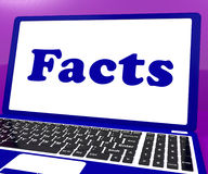 Facts Laptop Shows True Information And Knowledge Royalty Free Stock Images