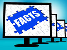 Facts Monitors Shows Data Information Wisdom And Knowledge Stock Image