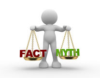 Facts and myth on scale. 3d people - man, person with  facts and myth on scale Stock Photo