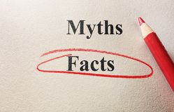 Facts or myths. Facts circled vs myths, and pencil on textured paper Stock Image