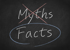 Facts and myths. Concept on blackboard background Stock Image