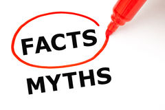 Facts Myths Concept Red Marker. Choosing Facts instead of Myths. Facts selected with red marker Stock Photo
