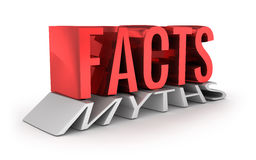 Facts instead of Myths 3d word concept Royalty Free Stock Photos