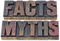 Facts and myths in wood type. Facts and myths - isolated words in vintage letterpress wood type with ink patina Stock Image
