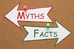 Facts Myths Concept. Facts and Myths words on paper arrow pinned on cork board. Change Your Mind. Business Concept stock photo
