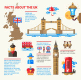 Facts about the UK poster with flat design infographic elements Royalty Free Stock Photo