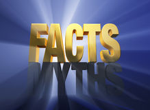Facts Vanquish Myths. Bright gold FACTS atop a dark gray MYTHS on a dark blue background brilliantly backlit with light rays shining through Stock Photos