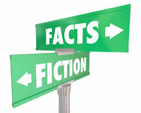 Facts Vs Fiction Truth or Lies Street Road Signs. 3d Illustration Royalty Free Stock Images