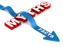 Facts win over myth. Facts jumping over myth, white background, red and blue words, concept of truth prevailing Stock Image