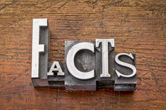 Facts word in metal type Stock Images