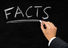'Facts' written on blackboard by businessman Stock Photo
