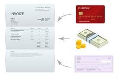 Factura única, control de banco, efectivo y tarjetas de crédito isométricos Facturas del pago y de la facturación, negocio o fina stock de ilustración