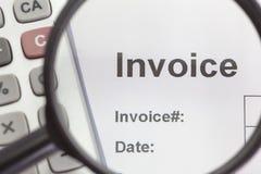 Factura del documento de negocio Imagen de archivo libre de regalías