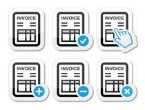 Factura, iconos del vector de las finanzas fijados Imágenes de archivo libres de regalías