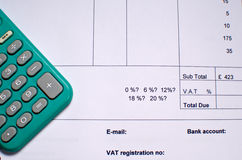 Factura IVA Imagen de archivo libre de regalías
