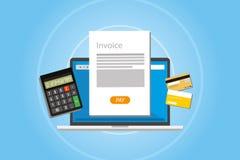 Factura que factura paga del servicio online Imágenes de archivo libres de regalías