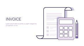 Facture avec la calculatrice Bill Concept Template Web Banner avec l'espace de copie Images libres de droits