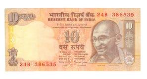 facture de 10 roupies de l'Inde Image libre de droits
