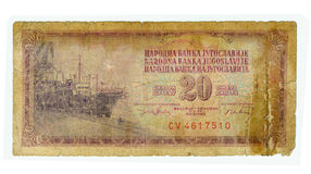 facture de 20 dinars de la Yougoslavie, 1974 Photographie stock