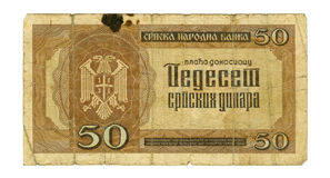 facture de 50 dinars de la Serbie, 1942 Images stock