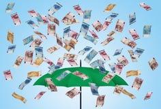 Factures 3D de parapluie et d'euro Photos libres de droits