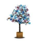 Factures d'euro d'arbre d'argent Image stock