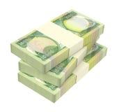 Factures de dinars de l'Irak d'isolement sur le fond blanc Image stock